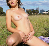 Steaming hot chick with steaming hot body peel off her pink jacket and