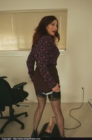 brunette black stockings shows
