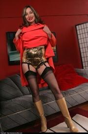 red dress brunette milf