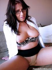 black haired mom glasses