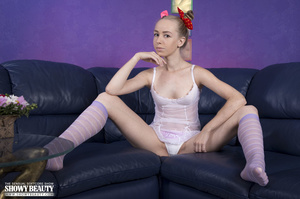 Petite babe displays her skinny body on  - XXX Dessert - Picture 1