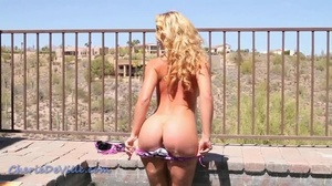 Outdoors poolside stripping with a stack - XXX Dessert - Picture 5