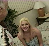 Big tits blonde gets fucked by a hung old man on a bed