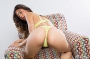 yellow lingerie brunette shows