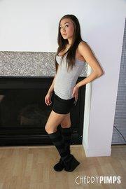 leggy exotic brunette stockings