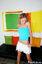 blue panties blonde teasing