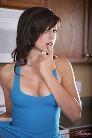 stunning brunette blue top
