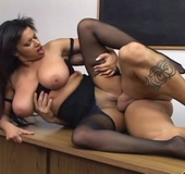 Busty milf in black lingerie lets bald dude rip her dark pantyhose and