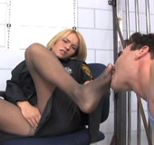Busty blonde in opaque pantyhose sheds black uniform and performing her