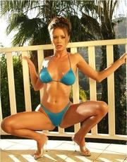 blue bikini brunette fingering