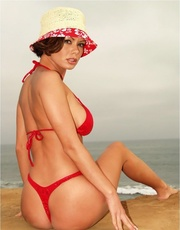 sunhat brunette red bikini