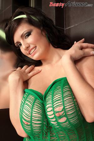 See-through green outfit brunette mastur - XXX Dessert - Picture 7