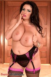 stockings-clad brunette gets her