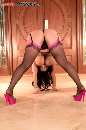 Stockings-clad brunette gets her massive - XXX Dessert - Picture 16