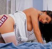 White panties retro hottie posing naked on camera