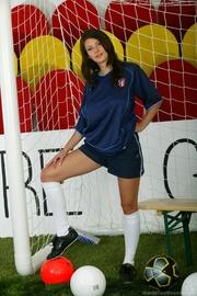 brunette soccer fan socks