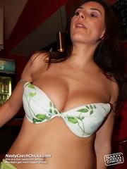 massive tits brunette gets