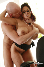 brunette with glasses gets