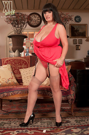 red dress and nylons