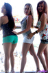 three teens short shorts