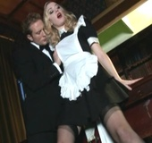 Red lipped blonde in maid uniform and black stockings gets her mouth and
