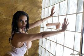 brunette, individual model, wet, white