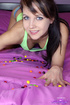 skittles-loving young brunette knee-length