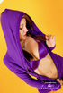 purple get-up brunette with