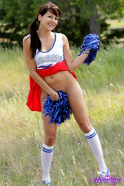 cute brunette cheerleader with