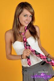 naughty blonde schoolgirl takes