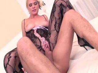 blonde milf black bodystockings