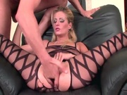 blonde crotchless bodystockings gets
