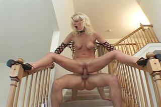 blonde babe black heels