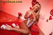 seductive blonde with crimson