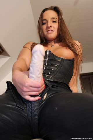 straponed brunette leather corset