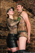 Straponed chick in leather miniskirt and skinny guy in military outfit