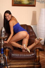tight blue dress brunette