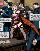 Burlesque-like blonde gets taken away by the cops.Prison Horror Story