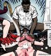 Black men violently raping a captured white blonde.Prison Horror Story