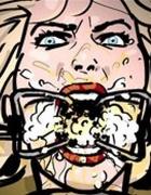 Piss-covered blonde talking to a Joker-like blonde.Prison Horror Story