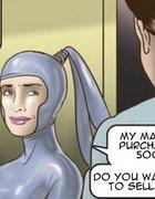 Latex-clad chick picks the bustiest blonde slave.Slave Fair Year Three