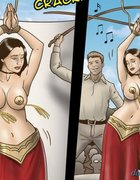 Topless belly dancer forced to dance some more.Slave Fair Year Three By