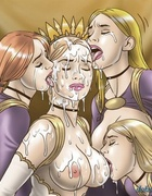 Crying girls licking off the jizz from their queen.Slave Fair Year Three