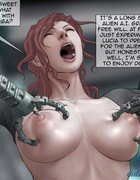 Mechanical claws almost ripping her tits off.The Alien Invasion By Feather