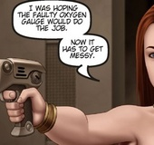 Double-crossing redhead misses wildly with her blaster.The Proto Part
