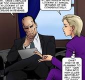 Sexy blonde in a purple pantsuit is seen talking.Total Control 3 By Fernando