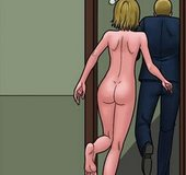 Blonde with a butt-plug running away completely naked.Bad Lieutenant 5