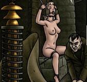 Medieval creep is about to torture a busty blonde.Creepy By Slasher
