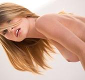 Black lingerie skinny blonde gets naked on camera