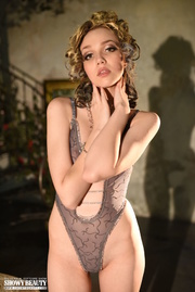 blonde girl strips and